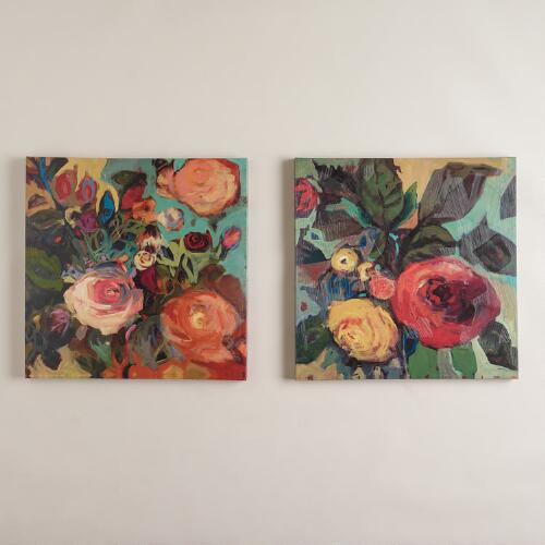 """Rose Garden I and II"" by Jennifer Harwood, Set of 2"