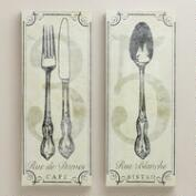 Vintage-Style French Bistro Wall Art, Set of 2