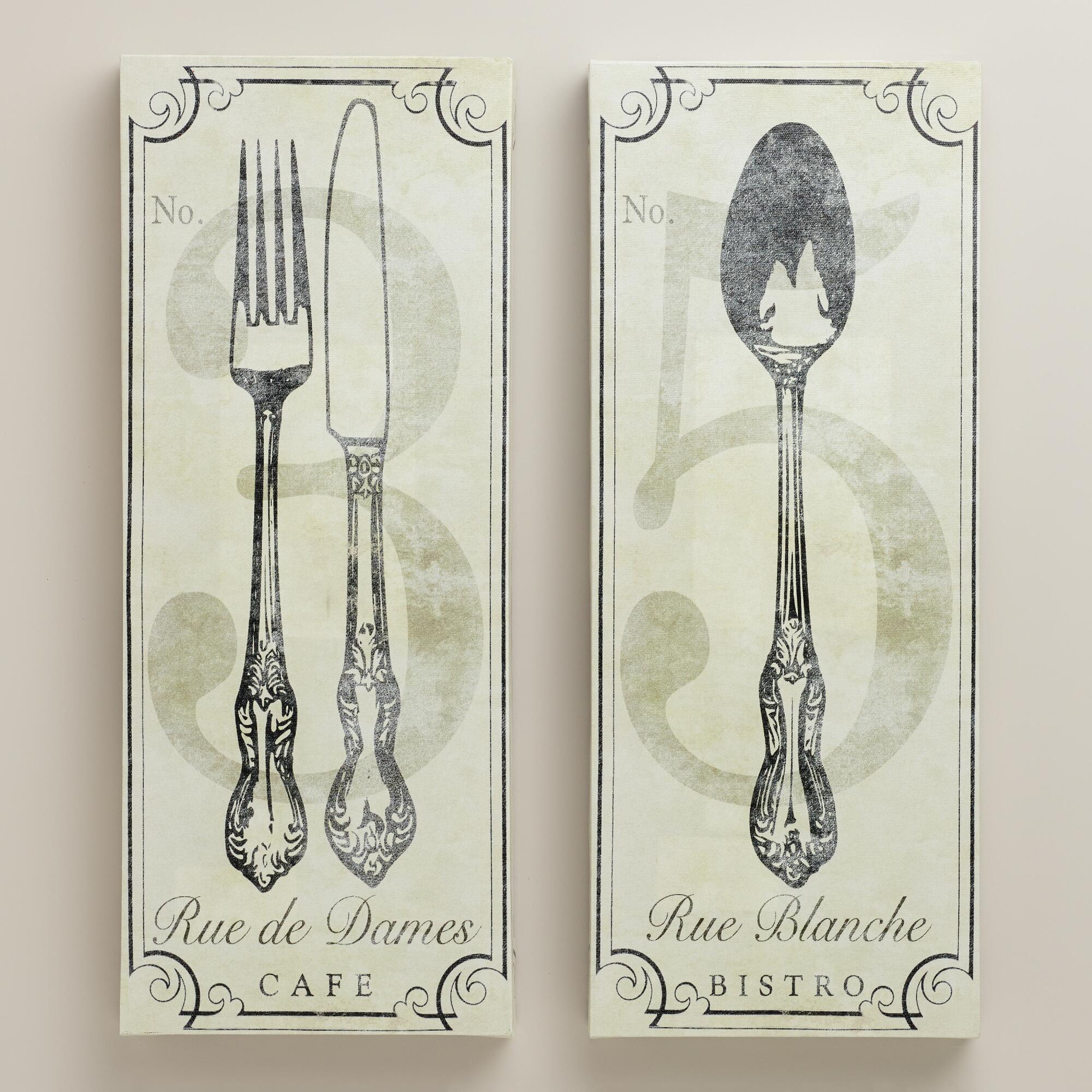 Vintage style french bistro wall art set of 2 world market for French kitchen artwork