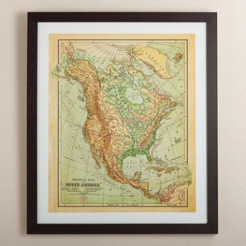 Vintage-Style North America Map