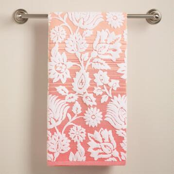 Coral Ombre Bliss Bouquet Sculpted Bath Towel