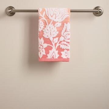 Coral Ombre Bliss Bouquet Sculpted Hand Towel