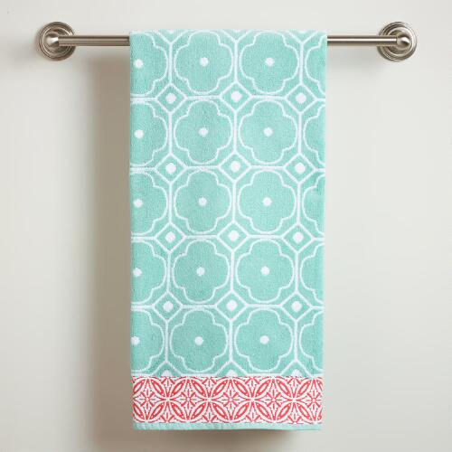 Harbor Blue Geo Jacquard Bath Towel