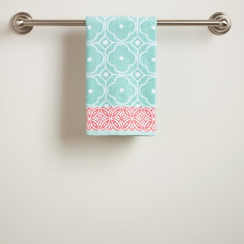 Harbor Blue Geo Jacquard Hand Towel