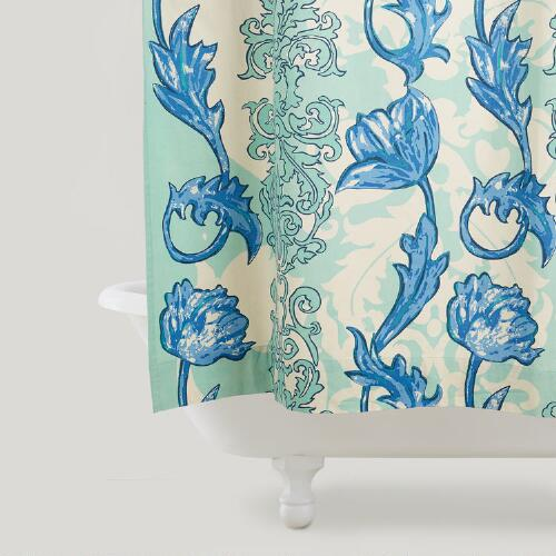 Scrolling Floral Shower Curtain