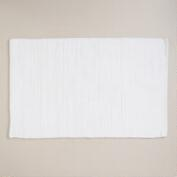 White Short Pile Reversible Bath Mat