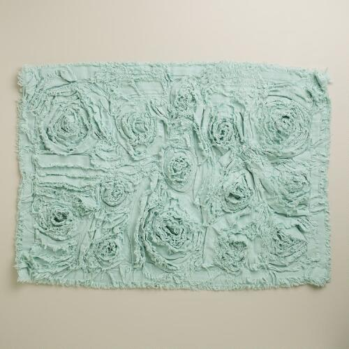 Harbor Blue Rosette Bath Mat