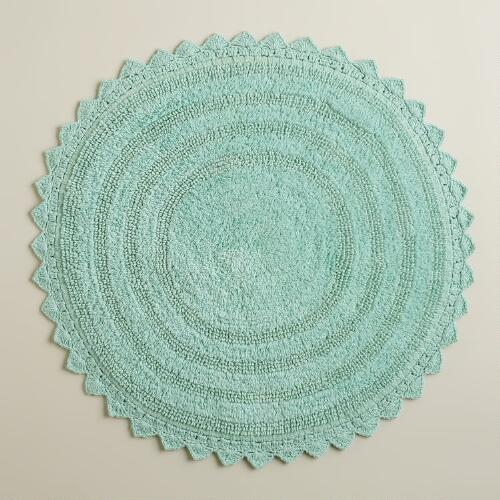 Harbor Blue Round Bath Mat
