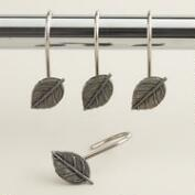 Antique Pewter Leaf Shower Curtain Hooks, Set of 12