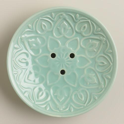 Aqua Embossed Ceramic Soap Dish