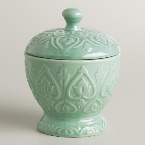 Aqua Embossed Ceramic Canister