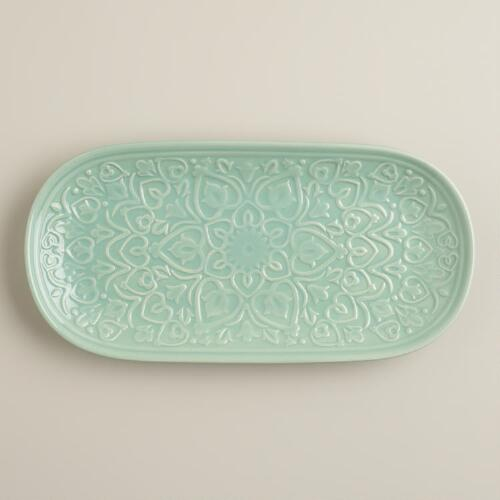 Aqua Embossed Ceramic Tray