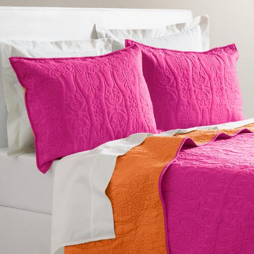 Fuchsia and Burnt Orange Simone Reversible Quilt