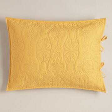 Yellow and Frost Gray Simone Pillow Shams, Set of 2