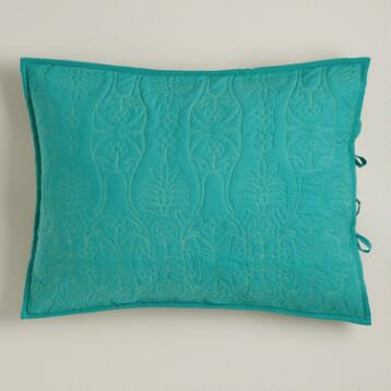 Turquoise and Oasis Green Simone Pillow Shams, Set of 2