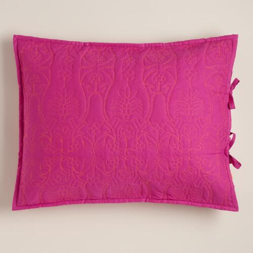 Fuchsia and Burnt Orange Simone Pillow Shams, Set of 2