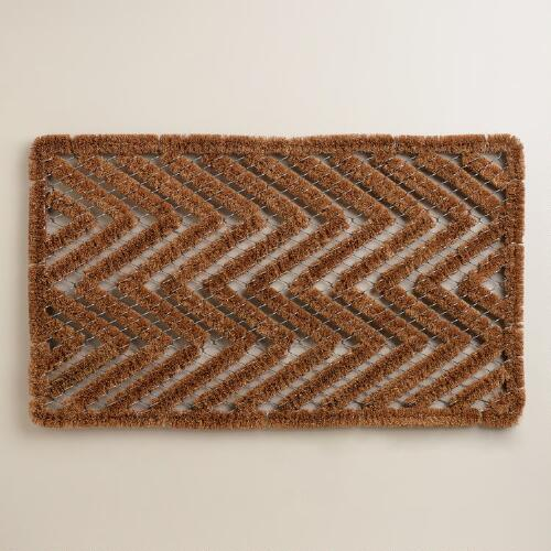 Chevron Coir and Wire Doormat