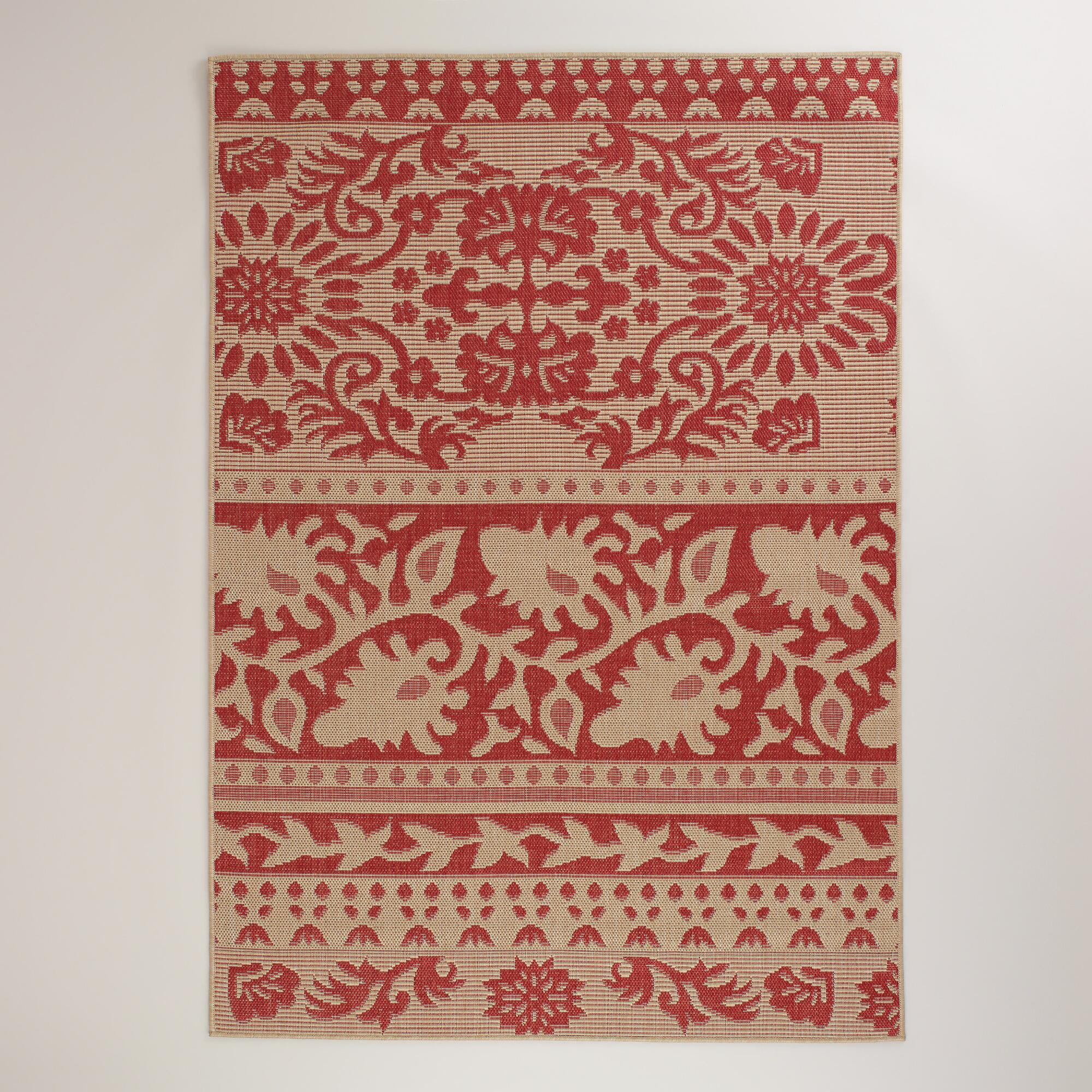 5'x7' Red Ban Thai Indoor-Outdoor Rug | World Market - photo#9
