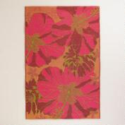 4'x6' Red and Orange Hibiscus Rio Indoor-Outdoor Floor Mat