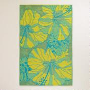 4'x6' Blue and Yellow Hibiscus Indoor-Outdoor Floor Mat
