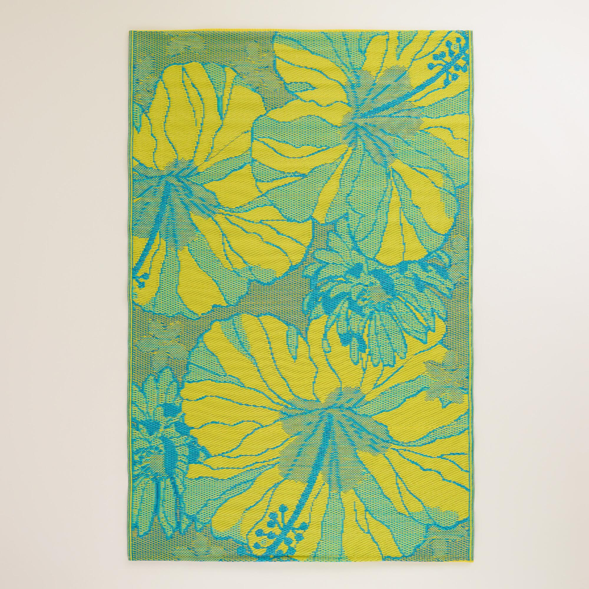 4 39 x6 39 blue and yellow hibiscus indoor outdoor floor mat world market - Yellow kitchen floor mats ...