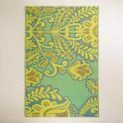 6'x9' Yellow and Blue Goddess Rio Indoor-Outdoor Floor Mat
