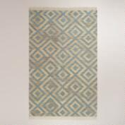 5'x8' Blue Diamond Natural Flat-Woven Wool Rug
