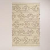 5'x8' Medallion Natural Flat-Woven Wool Rug