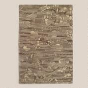 6'x9' Distressed Tufted Wool Rug with Chindi