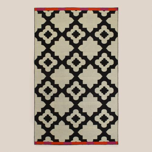 Pink-Orange Bordered Flat-Woven Indoor-Outdoor Rugs