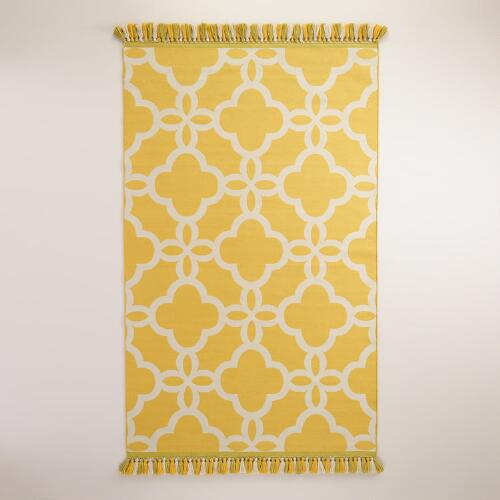 Yellow Lattice Indoor-Outdoor Rugs with Tassels
