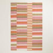4'x6' Pink Off-Placed Stripe Indoor-Outdoor Rug