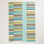 4'x6' Blue Off-Placed Stripe Indoor-Outdoor Rug