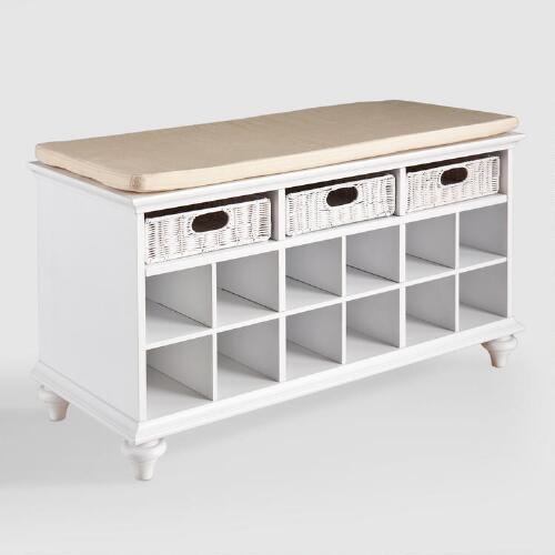 White Oakdale Shoe Bench