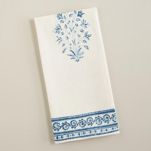 Blue Block Print Kitchen Towel
