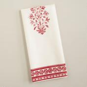 Red Block Print Kitchen Towel