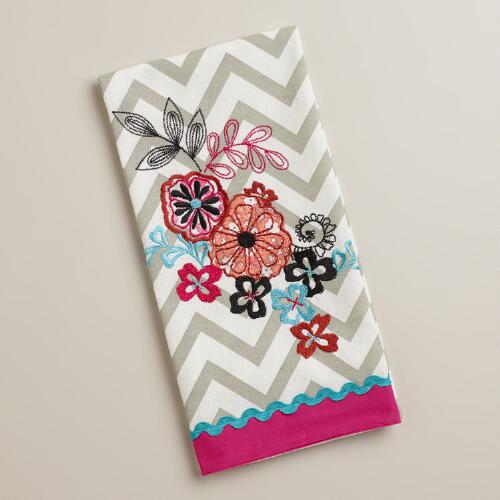 Flower Chevron Kitchen Towel