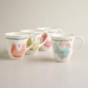 Rooster Mugs, Set of 4