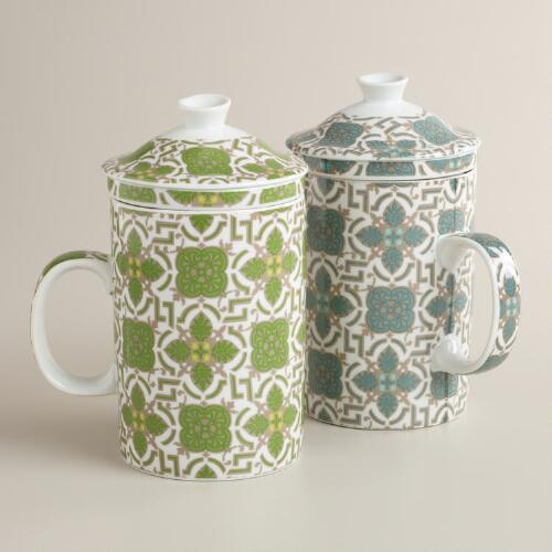 Tile Infuser Mugs, Set of 2