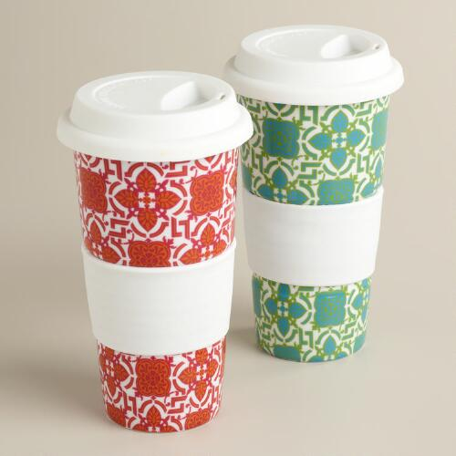 Tile Ceramic Travel Not-A-Paper Cup, Set of 2