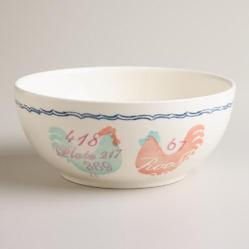 "9"" Rooster Serving Bowl"