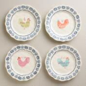 Rooster Plates, Set of 4