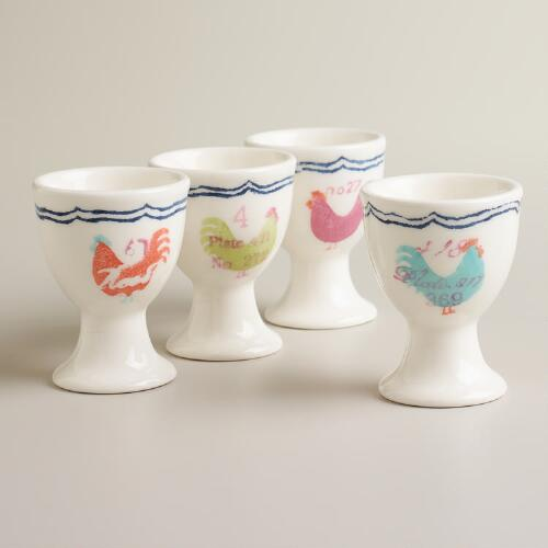 Rooster Egg Cups, Set of 4