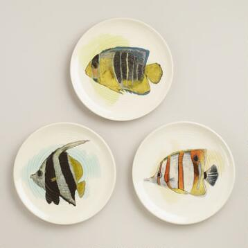 Waterfront Sea Life Plates, Set of 3