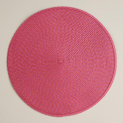 Raspberry Round Braided Placemats,  Set of 4