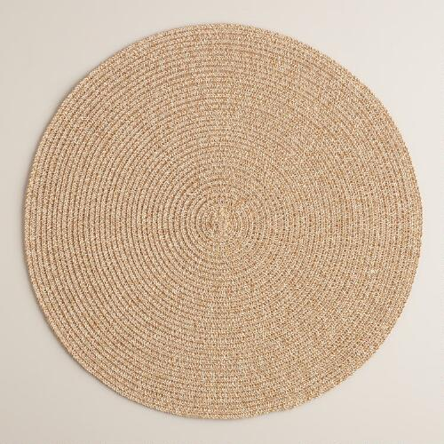 Oatmeal Round Braided Placemats, Set of 4