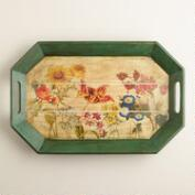 Botanist Floral Wood Tray