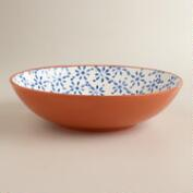 Woodblock Low Serving Bowl