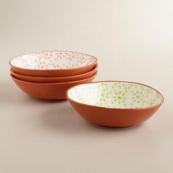 Woodblock Low Bowls, Set of 4