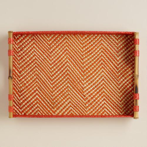 Orange Chevron Pandan Tray
